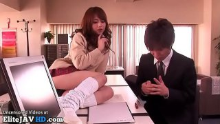 Japanese college girl provokes her teacher