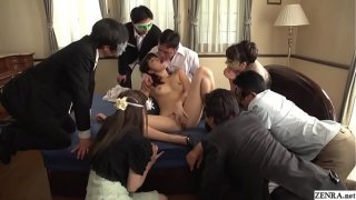 JAV Miki Sunohara blowjob and rimjob while audience watches