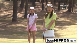 Teen golfer gets her pink pounded on the green!