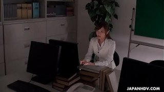 Japanese office lady, Aihara Miho is masturbating at work, uncensored