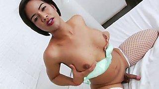Oriental brunette hair ts pookluk enjoys sexy solo masturbation