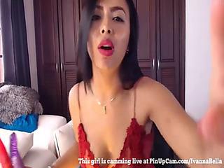 Cute little oriental mommy fucking herself