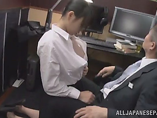 Throbbing oriental cowgirl aroused as her large bumpers are sucked