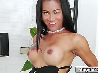 Breasty thai tranny ploy shows off her body and begins jerking