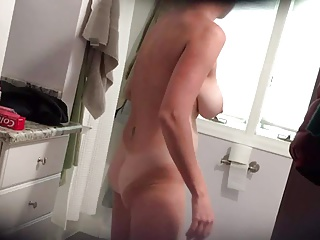 Hawt wife with massive boobs in advance of shower
