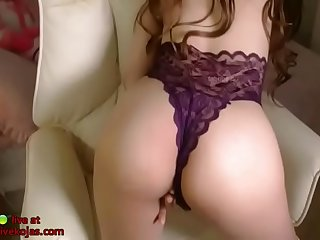 Korean sexy camgirl in purple lingerie
