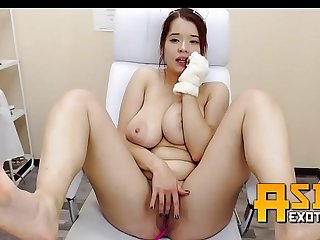 Thick Asian Nurse big tits legs feet show  AsianExotix.com