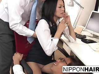 Hot young secretary gives her coworkers a double bj
