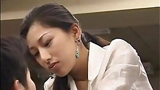 Japanese busty secretary asked to fuck office guy