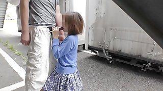 Japanese Amateur Sucks Stranger's Cock Outside
