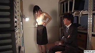 Unfaithful Japanese wife Maki Hoshikawa strips naked in office storage room Subtitles