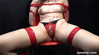 Asian bitch getting fingered and toy fucked perfectly